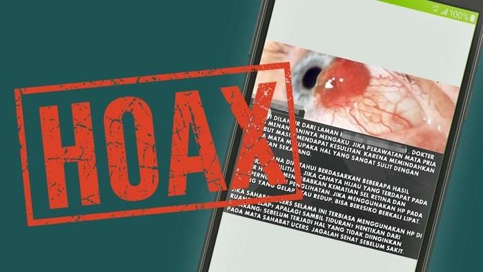 Hoax main ponsel di tempat gelap bisa sebabkan tumor mata. Foto: Nadia Permatasari/detikcom