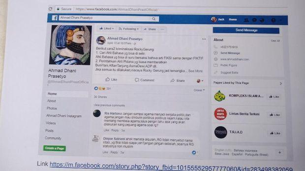 Jack mengatakan postingan Dhani di Facebook itu memuat unsur fitnah.