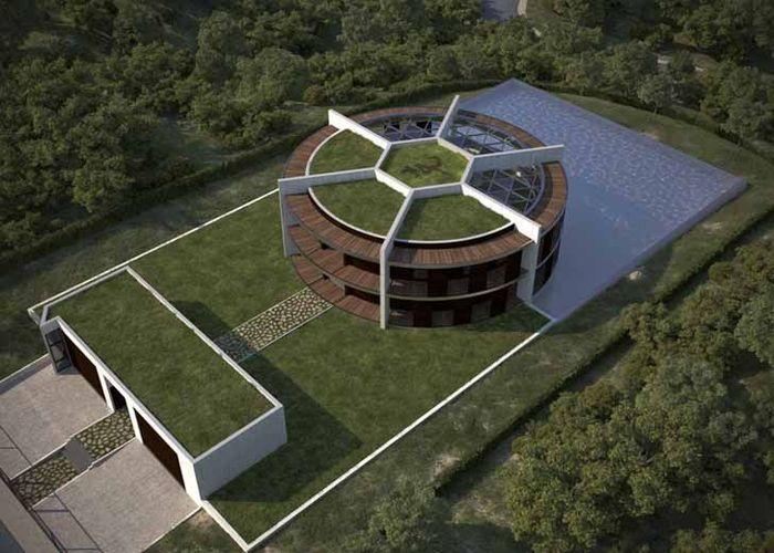 Dari atas udara, rumah mesi tampak seperti bola sepak dengan pola khasnya yang klasik. Istimewa/Inhabitat.