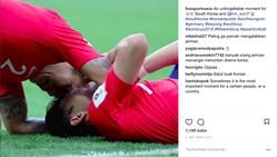 Son Heung Min menangis saat dilakahkan Meksiko. Menang melawan Jerman, ia juga meluapkan haru dengan menangis. Ini potret dirinya menangis di Piala Dunia 2018.