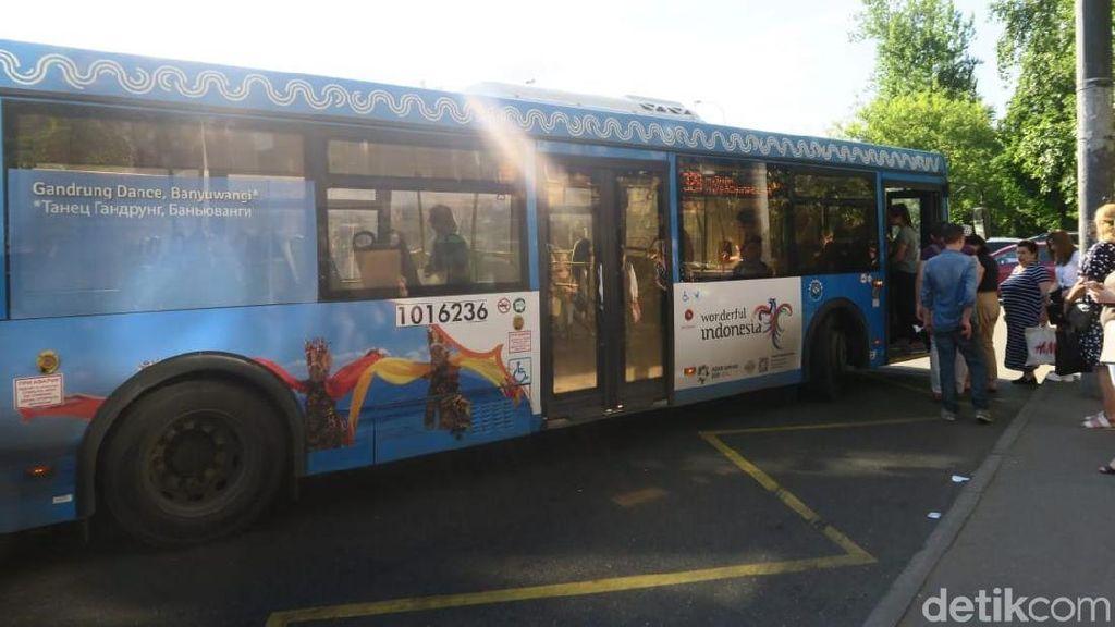 Viral, Bus Bergambar Penari Gandrung dan Kawah Ijen Ada di Rusia