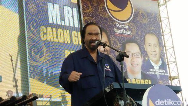 Surya Paloh saat deklarasi Ridwan Kamil di Bandung