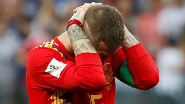 Sergio Ramos usai kekalahan dari Rusia di Piala Dunia 2018.