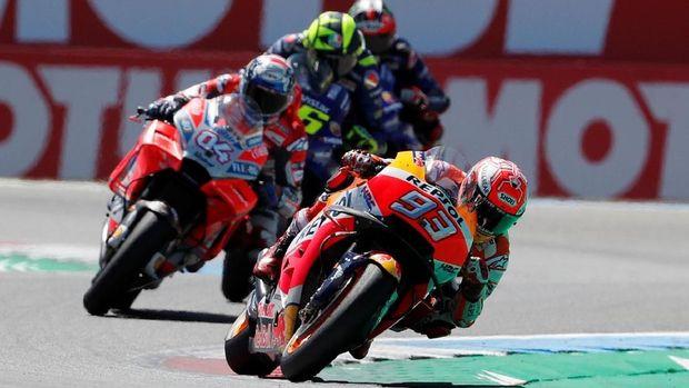 Marc Marquez mampu memenangi balapan sengit di MotoGP Belanda.