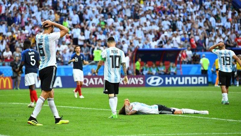 Argentina tersingkir di babak 16 besar Piala Dunia 2018, setelah dikalahkan Prancis 4-3 (Dylan Martinez/Reuters)