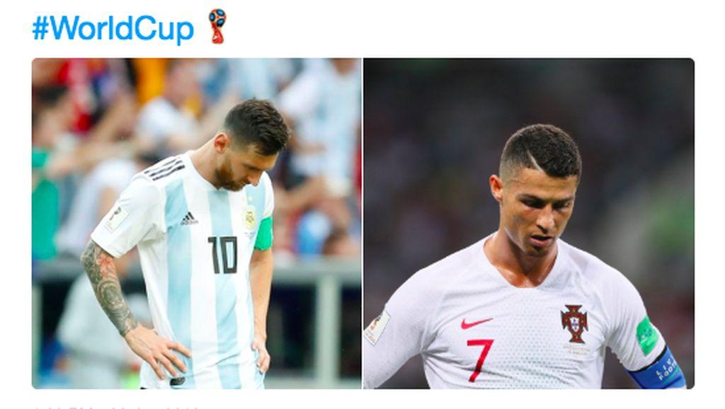 Meme Kocak dan Sedih Ronaldo dan Messi Tersisih