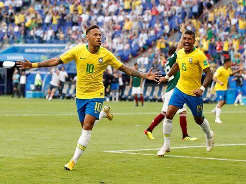 Neymar menyumbangkan satu gol untuk Brasil. Tim Scaleco menang 2-0 atas Meksiko.