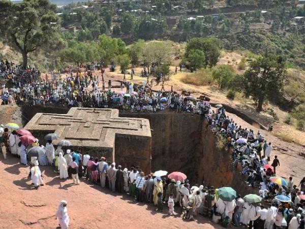 Santo Giorgis merupakan salah satu gereja beraliran Kristen Orthodoks di Lalibela, Ethiopia. Gereja ini masuk ke dalah situs warisan dunia UNESCO. (AFP)