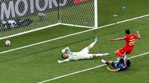 Timnas Jepang ketika dikalahkan 2-3 oleh Belgia di 16 Besar Piala Dunia 2018.