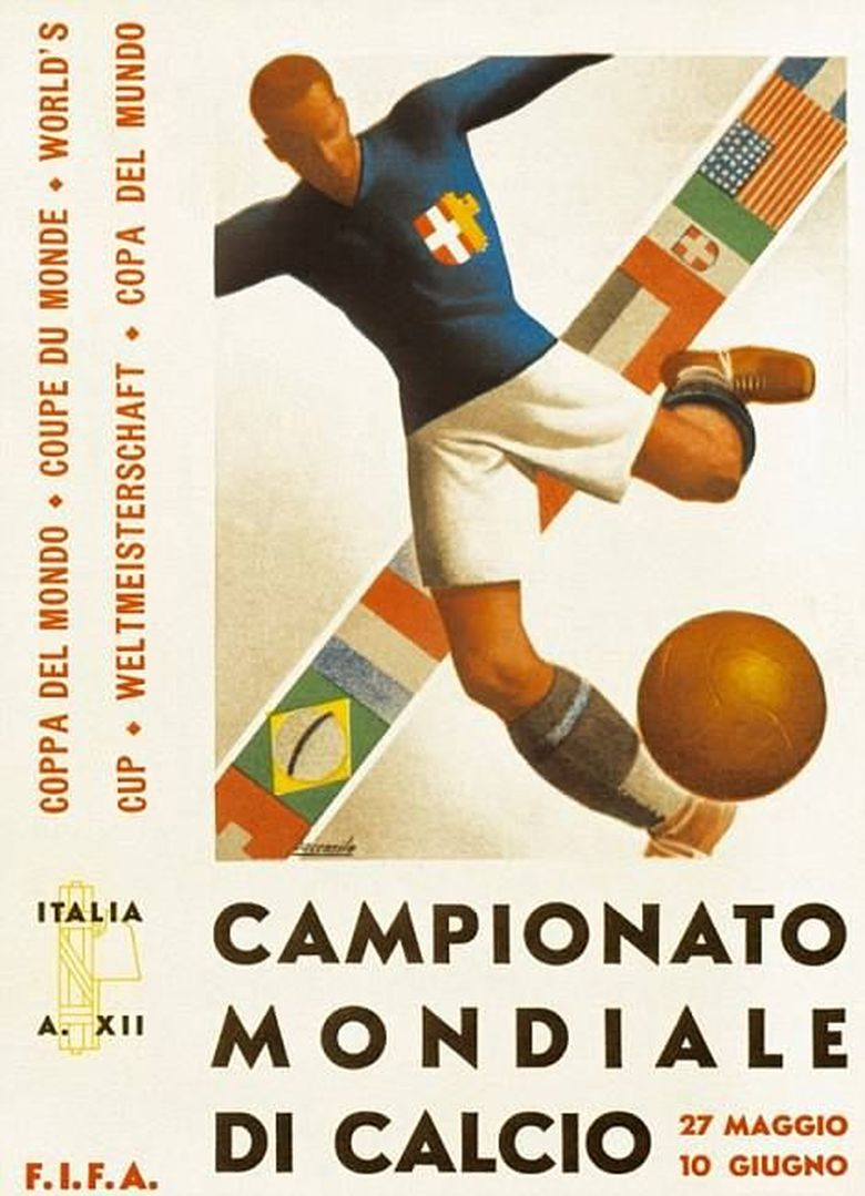 Di tahun kedua, poster artsy menggambarkan pesebakbola Italia dengan banyak latar bendera negara-negara yang berpartisipasi. Foto: dok.mailonline