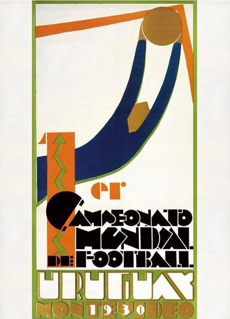 Poster Piala Dunia pertama di tahun 1930 dibuat oleh seniman Guillermo Laborde yang menampilkan gaya art deco. Foto: dok.mailonline