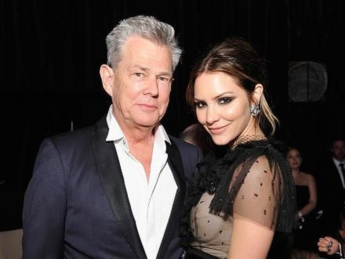 LOS ANGELES - JUNE 13:  Singer Katharine McPhee and producer David Foster pose for photographers during the JC Penny Jam press conference at the Shrine Auditorium June 13, 2006 in Los Angeles, California.  (Photo Frederick M. Brown/ Getty Images)