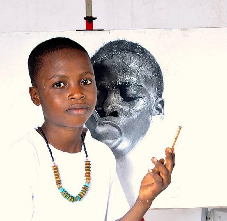Kareen Waris Olamilekan atau Waspa dari Nigeria dan merupakan pelukis muda yang sudah diakui dunia seni internasional. Dok. Instagram/waspa_art