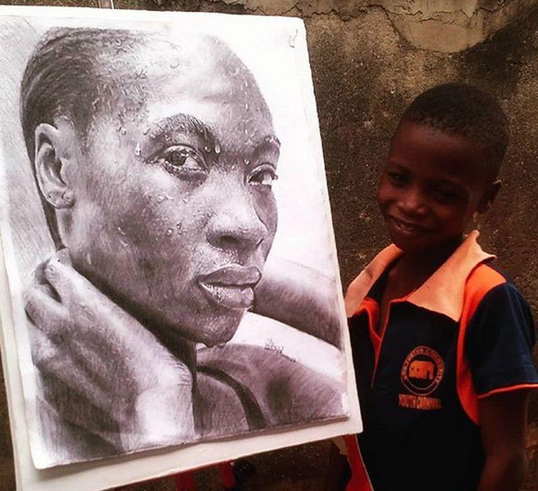 Di usianya yang baru menginjak 11 tahun, ia sudah menempuh ilmu di Ayawole Academy of Arts. Dok. Instagram/waspa_art