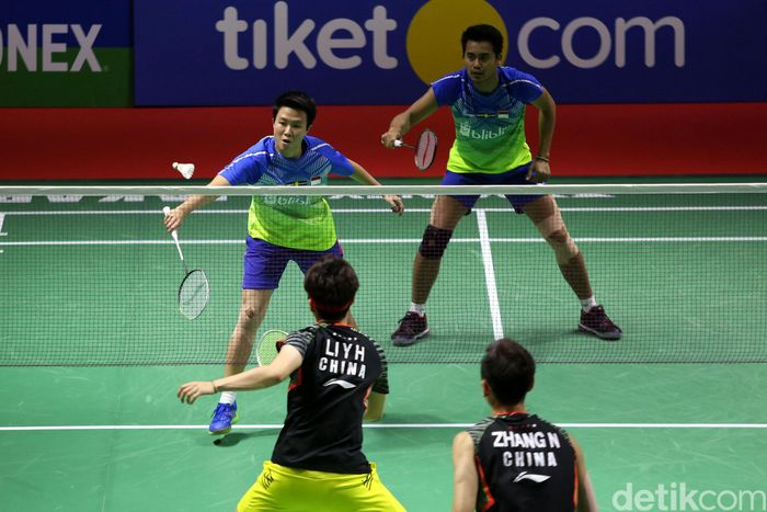 Tontowi/Liliyana bertanding melawan Zhang Nan/Li Yinhui di Istora, Gelora Bung Karno (GBK), Senayan, Jumat (6/7/2018).