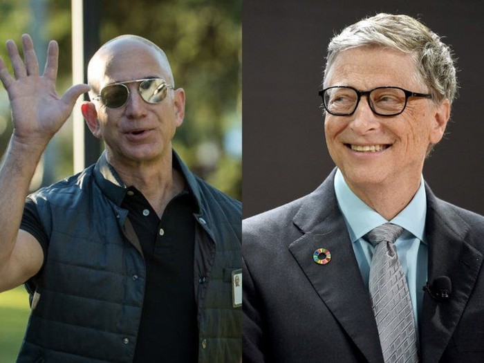CEO Amazon Jeff Bezos dan Pendiri Microsoft Bill Gates. Foto: Business Insider