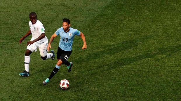Prancis sempat membiarkan Uruguay menguasai bola di laga perempat final.