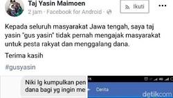 Hati-hati Ada Akun FB Catut Taj Yasin Minta Sumbangan, Palsu!