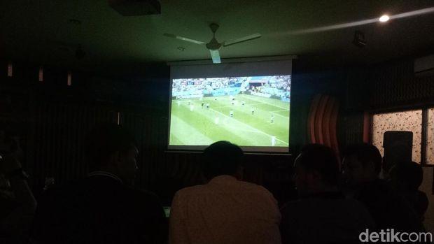 Suasana Nobar Piala Dunia di Jajaran Polda Sulsel