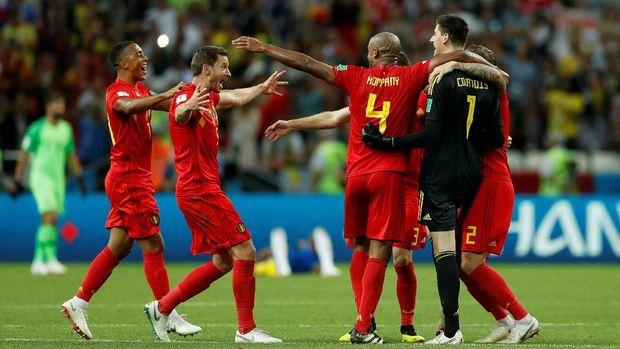 Belgia merayakan kemenangan mereka atas Brasil di perempat final. (