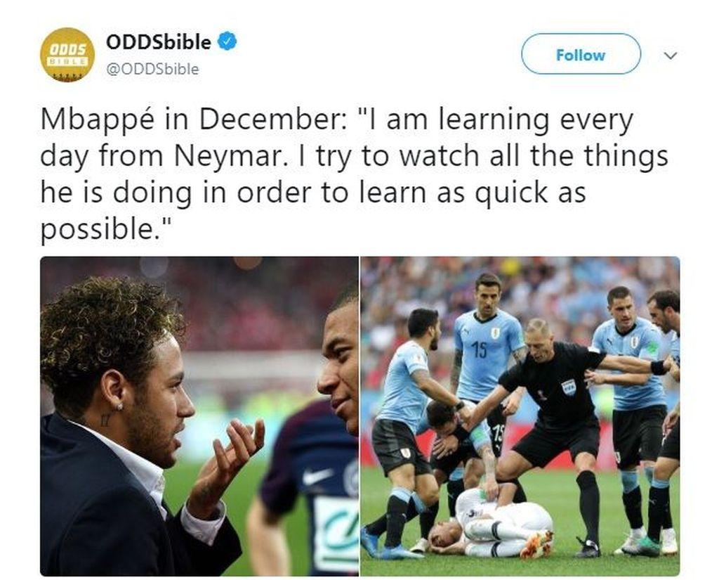 Kebanyakan belajar dari Neymar, akhirnya Mbappe jadi ikut-ikutan diving. (Foto: Internet)