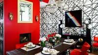 Ruang makan juga didesain unik dengan paduan warna merah dan putih.
