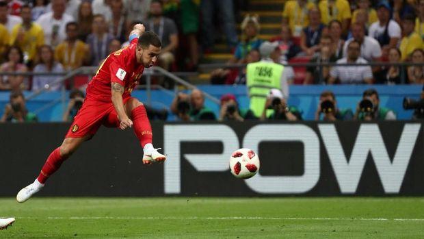 Eden Hazard dalam performa apik di Piala Dunia 2018.
