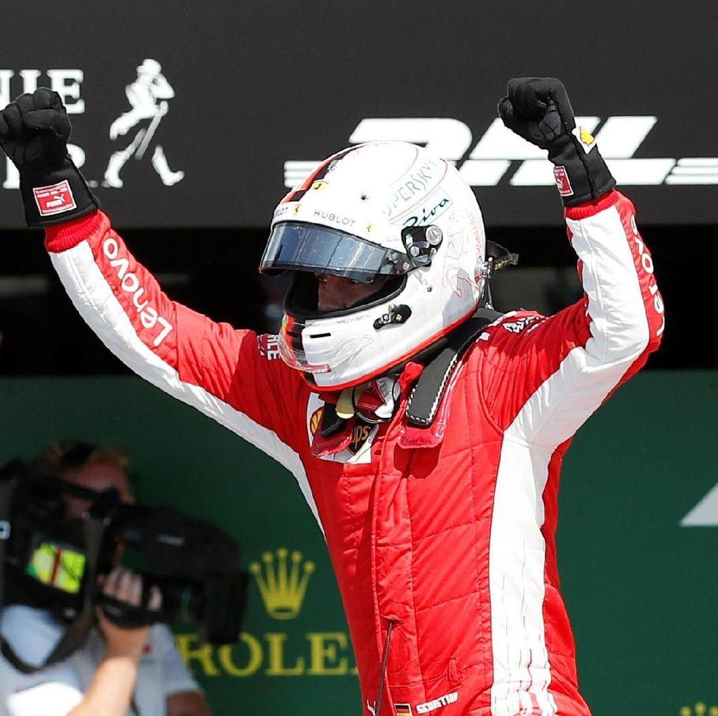 Vettel Menangi GP Inggris yang Penuh Drama