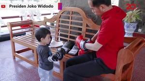 Ngevlog, Jokowi Ajak Sang Cucu Main Tinju dan Bola
