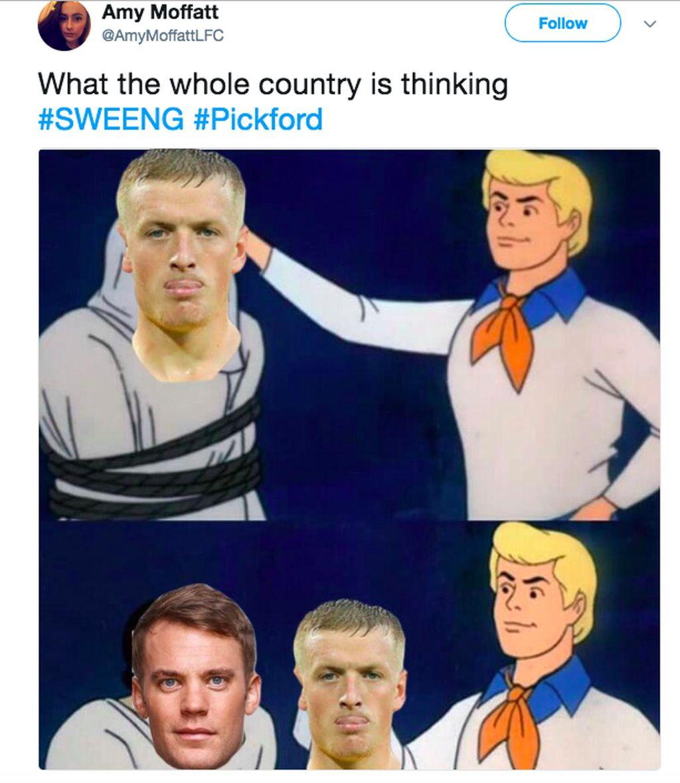 Ternyata Pickford adalah Manuel Neuer yang menyamar. Pantas hebat. Foto: istimewa
