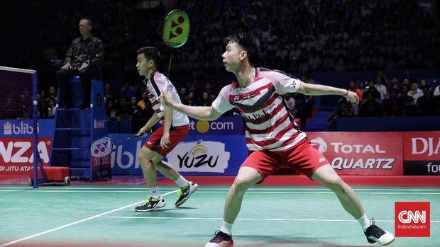 Ganda putra Indonesia Marcus Fernaldi Gideon/Kevin Sanjaya Sukamuljo sempat terlibat drama soal challange di Indonesia Open 2018.