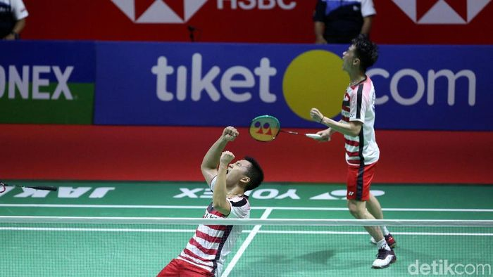 Kevin Sanjaya/Marcus Gideon merebuty gelar pertamanya di Indonesia Open (Grandyos Zafna/detikSport)