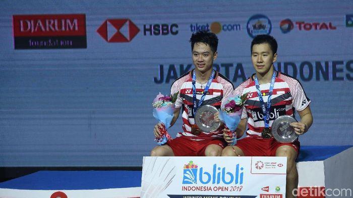 Kevin Sanjaya/Marcus Fernaldi Gideon saat menjuarai Indonesia Open 2018. (Foto: Grandyos Zafna/detikSport)