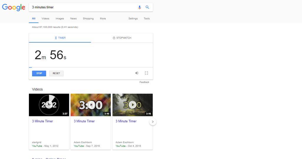 """Google Timer: jika membutuhkan timer, yang perlu Anda lakukan hanya ketik durasi yang anda inginkan dan tambahkan kata """"timer"""" setelahnya pada tab pencarian di Google. Akan ada suara Alarm ketika waktu telah habis. Untuk mengakses fitur ini pastikan anda menggunakan Google berbahasa Inggris. (Foto: Internet)"""