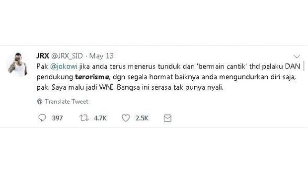 Jerinx 'SID' Kritik Presiden Joko Widodo di Twitter