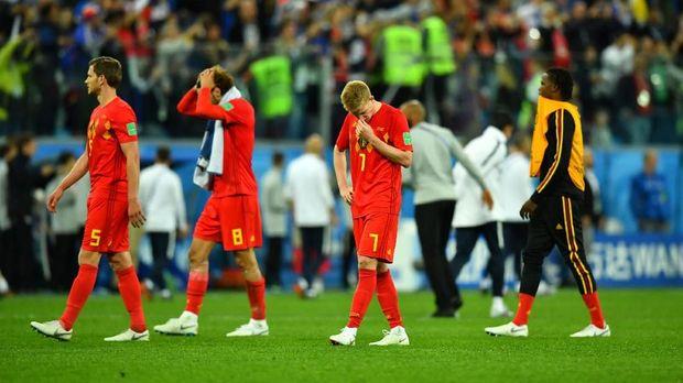 Timnas Belgia kalah 0-1 dari Prancis di semifinal Piala Dunia 2018. (