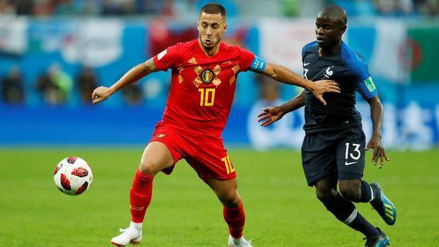 Timnas Belgia memiliki sebagian besar pemain yang berkarier di Inggris, salah satunya Eden Hazard.