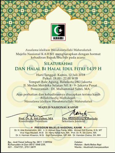 Undangan acara Halal Bihalal KAHMI yang benar