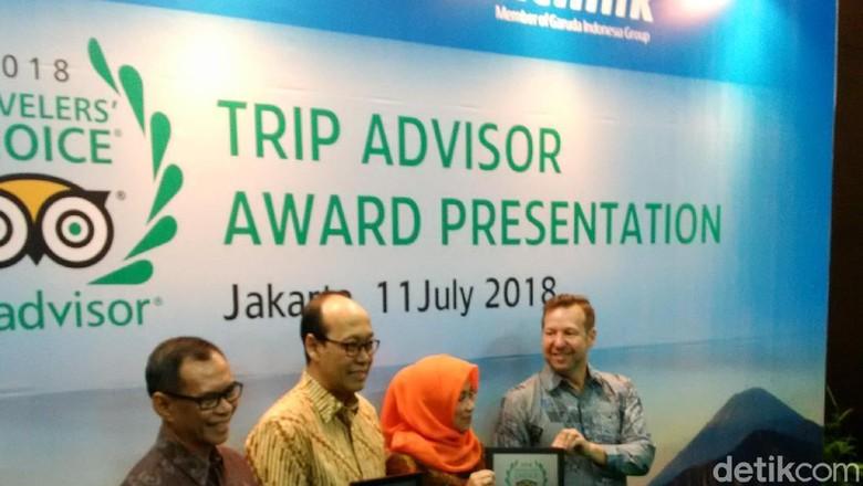 Foto: Penerimaan penghargaan Citilink dan Garuda Indonesia oleh TripAdvisor (Masaul/detikTravel)