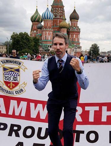 Salah satu pendukung timnas Inggris di Rusia.
