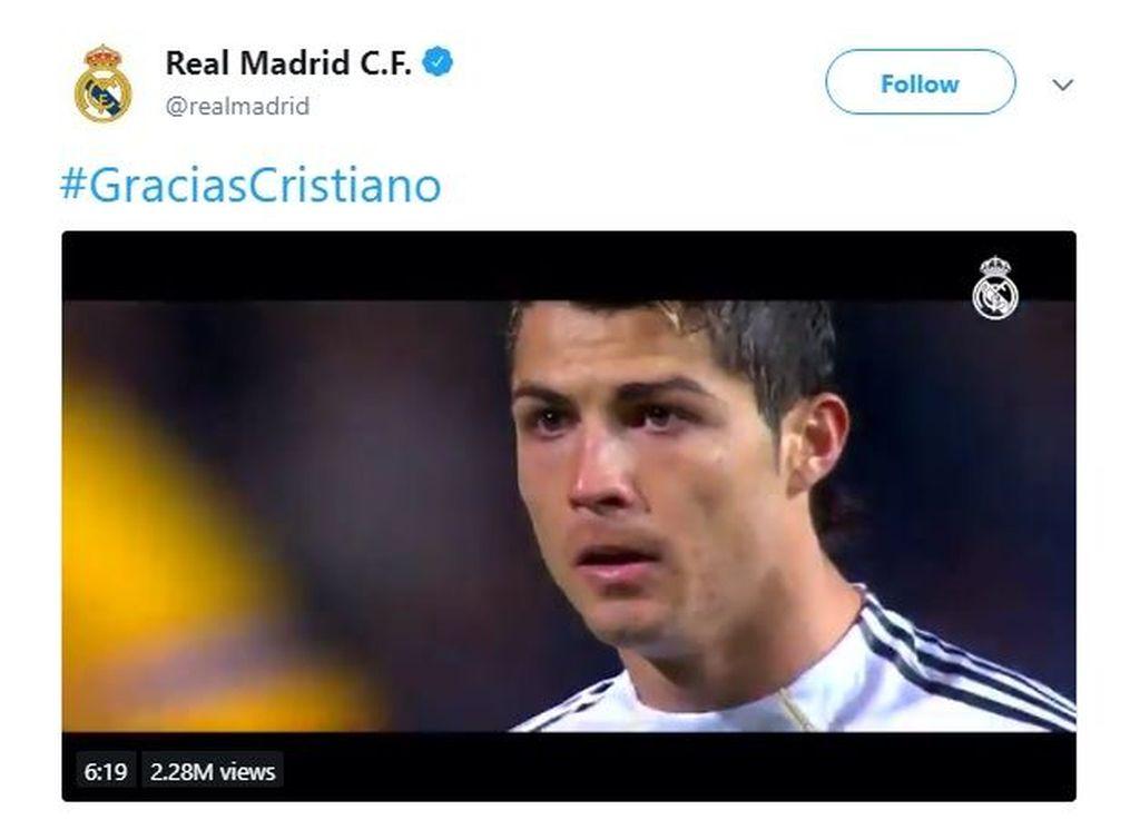 Video perpisahannya pun juga sudah diunggah di akun Twitter milik Real Madrid. Foto: Istimewa