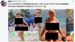 Model seksi Coco Austin jadi bahan hoax. Foto lamanya saat berbikini di pantai disebut-sebut sebagai Presiden Kroasia, Kolinda Grabar-Kitarovic.