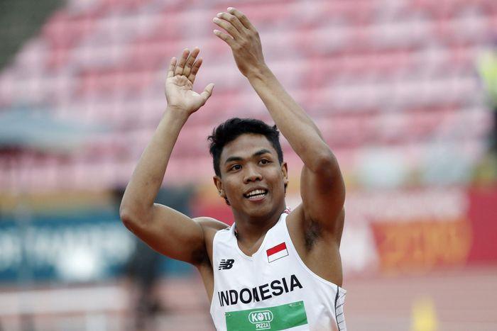 Pelari Indonesia Lalu Muhammad Zohri meluapkan kegembiraannya usai berhasil meraih medali emas pada nomor lari 100 meter pada ajang IAAF World U20 Championship di Tempere, Finlandia, Rabu (11/7/2018) waktu setempat. Istimewa/Lethikuva/Reuters.
