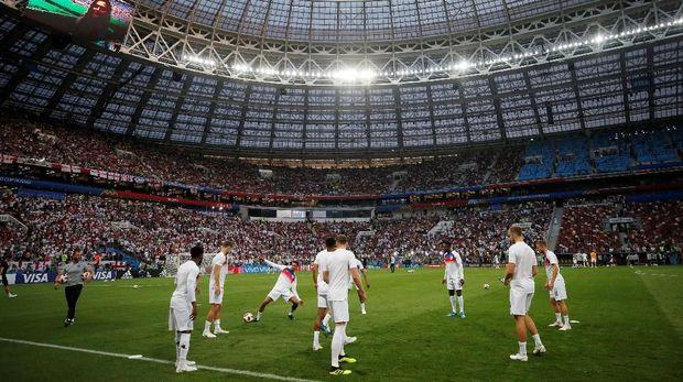 Pemanasan timnas Inggris jelang melawan Kroasia.
