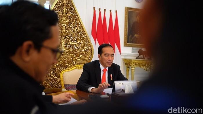 Presiden Joko Widodo (Jokowi) dalam sesi wawancara khusus dengan detikcom, Rabu (11/7/2018) (Andhika Prasetia/detikcom)