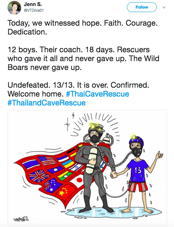 Para penyelamat yang memberikan segalanya dan tak pernah menyerah. Wild Boars juga tak pernah menyerah Sudah selesai, selamat pulang ke rumah, tulis netizen ini dengan kartun yang menggambarkan seorang penyelamat bersama anak yang dibawanya. Foto: istimewa