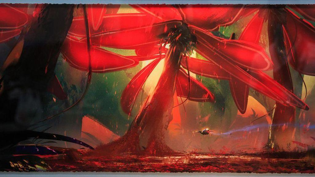 Karya seni yang berjudul Pollen Field ini dibuat oleh Victor Mosquera dan berasal dari video game Starlink: Battle for Atlas. Foto: Josh Miller/CNET