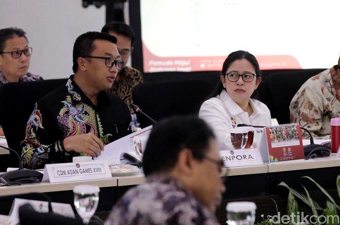Puan membuka rapat di kantor Kemenko PMK, Jalan Medan Merdeka Barat, Jakarta Pusat, Kamis (12/7/2018).