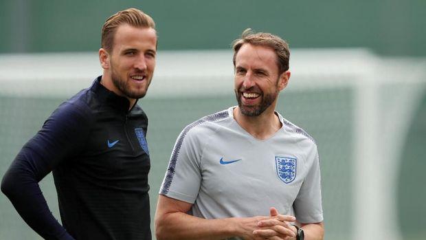 Kapten timnas Inggris Harry Kane dan pelatih timnas Inggris Gareth Southgate.