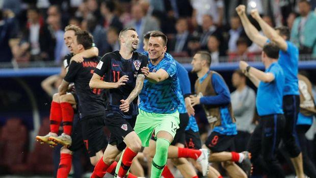 Kroasia merayakan keberhasilan lolos ke babak final Piala Dunia 2018.